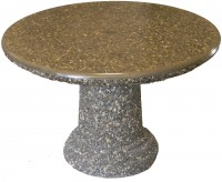Designer Round Table in polished grey top