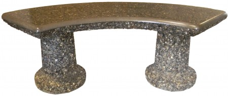 Designer Curved Bench in polished grey with exposed trim
