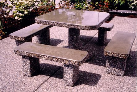Classic Stone Square Patio Table Set