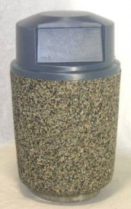 Round Concrete Garbage Can with Dome Lid