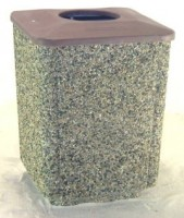 Square Garbage Can with Flat Plastic Lid