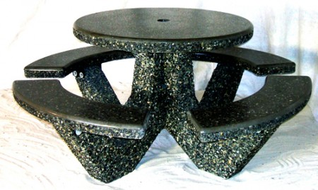 Round 4 seat concrete patio table