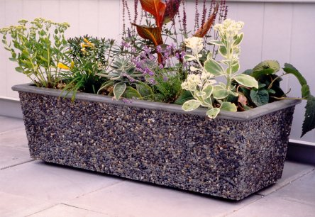 Wide rectangle concrete planter