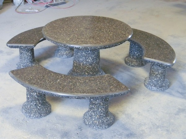 Designer Round Table Set in polished grey tops