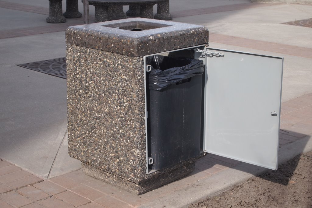 Square Trash Can With Polished Concrete Lid Dominion Precast