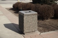 "24"" Square Trash Receptacle with polished concrete lid."