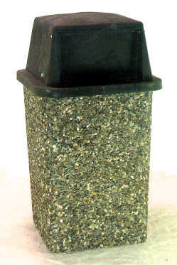 "Classic Stone Square Trash Receptacle - ""THE KING"""
