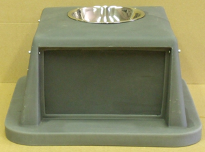 Large green 2 door garbage can lid with ashtray