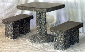Space saver concrete patio set