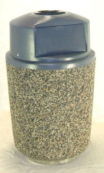 Round Concrete Garbage Can with Dome Lid and stainless steel ashtray insert.