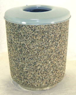 Round Concrete Garbage Can with Flat Metal Lid.
